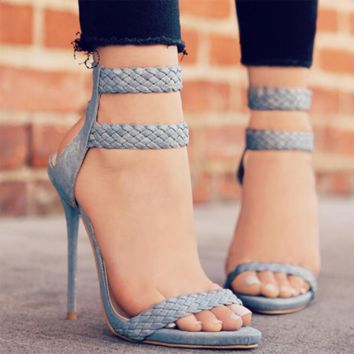 2017 Fashion Female Sandals Summer Faux Suede Women's High Heels Shoes 5-8cm High Heels Women Causal Sandals Size 36-42