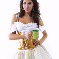 White and Gold Bavarian Off Shoulder Lace Up Ruffled Costume
