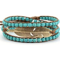Hippie Feather Wrap Bracelet Turquoise Beads