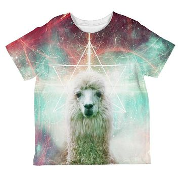 Galaxy Llama of Namaste Tetrahedron All Over Toddler T Shirt