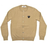 Black Play Ladies' Cardigan (Beige) | Knitwear | Play | Comme Des Garçons