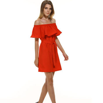 Off Shoulder Dress Sleeveless Ruffles Straps Dresses Candy Color Party Dresses