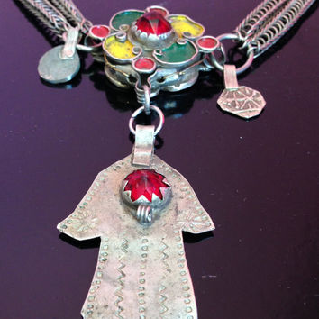 Antique Berber Necklace with Enamel & Khamza with Red Glass
