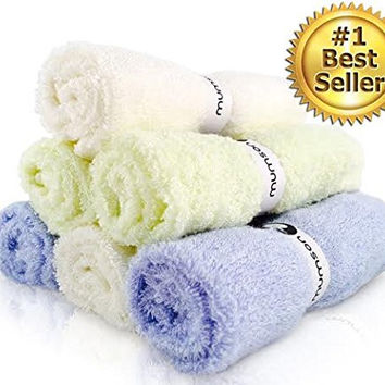 """Mumson Luxury SOFT Baby Bath Washcloths, Parents Approved 6 Pack 10""""x10"""" Larger Organic Bamboo Washcloths - Reusable Wipes for Sensitive Skin - Baby Shower, Baby Registry!"""