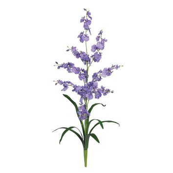 Silk Flowers -Purple Dancing Lady Orchid Flower -6 Stems Artificial Plant