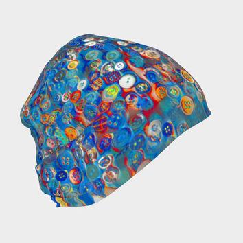 Buttons in Blue, Beanie - Skull Cap, Winter or Summer, Multiple Fabric Choices, Cute Fun Baby Newborn Hat - Adult Sizes
