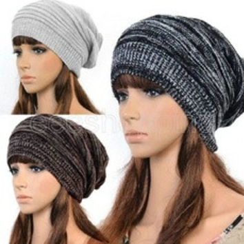 Hot Fashion Women Ladies Unisex Winter Knit Plicate Slouch Cap Hat Knitted Skullies Beanies Casual Ski 3 colors [9833993103]