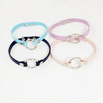 Fashion New Punk Rock O Round Collar Chokers 100% HANDMADE Leather Harajuku  Necklace Black/White/Pink/Purple/Blue 5 Colors