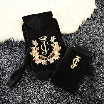 Juicy Couture Studded Jc Crown Velour Tracksuit 6020 2pcs Women Suits Black