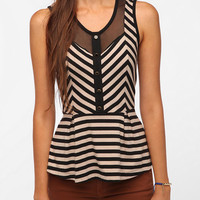 Urban Outfitters - Pins and Needles Stripes and Mesh Peplum Tank Top
