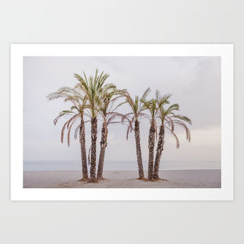 Palms. Sunset at the beach Art Print by Guido Montañés
