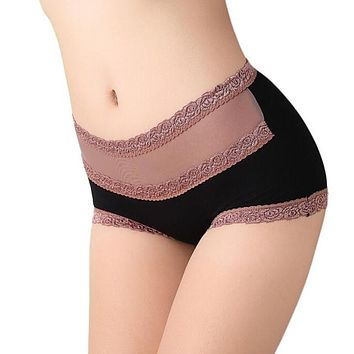 Women's Underpants Cotton Lace Cotton Briefs Hollow Out High Waist Panties underwear Girl High Quality #LSN