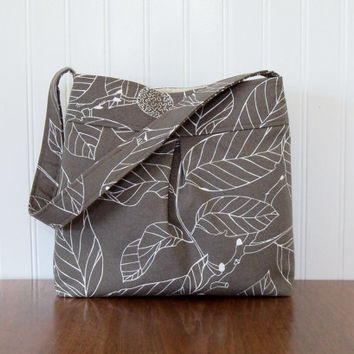 Pleated Purse - IKEA Leaves in Taupe - Cotton Home Decor Purse - Fabric Purse - Everyday Bag - Light Brown Purse