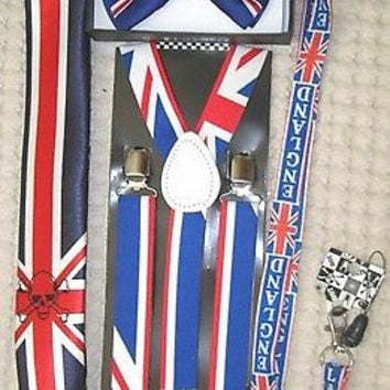UK British Flag Y-Back Suspenders,UK Lanyard,UK Neck Tie & UK British Bow Tie-13