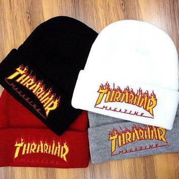 DCCK7XP Thrarhar Woman Men Fashion Flame Embroidery Beanies Winter Knit Hat Cap