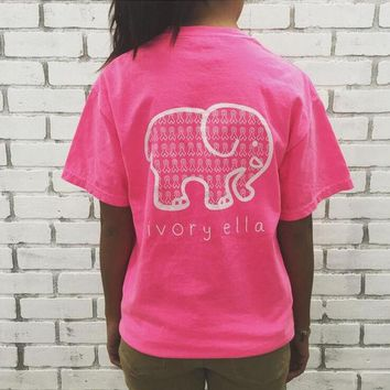 VONE055 English alphabet Elephant Print T-Shirt
