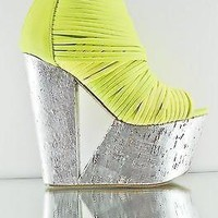 maneater cut out platform wedge bootie shoe silver yellow  number 1