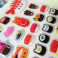 sushi sticker Cartoon food sticker animal food monster mini food icon japanese food party bear cafe store recipes label teddy cute cup