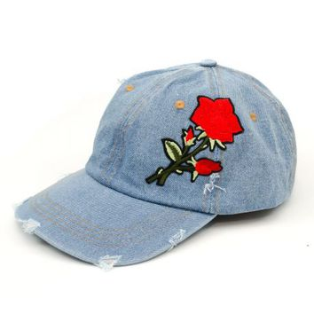 The Denim Rose Patch Sports Cap in Light Blue