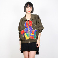 Vintage Picasso Jacket Bomber Jacket Windbreaker Jacket Embroidery Surrealist Painting Olive Green Army Green Mod 1980s 80s M Medium L Large