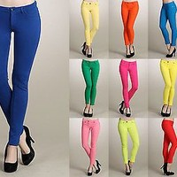 Slim Fit Solid COLORED Jeggings Ankle Stretch SKINNY JEAN PANTS