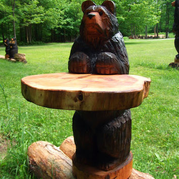 Black Bear Chainsaw Carved Table