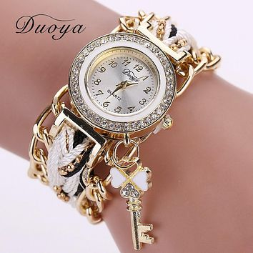 Duoya Brand Watch Women Fashion Key Luxury Gold Crystal Leather Strap Ladies Watch Analog Quartz Clocks Hour Gift Wristwatch