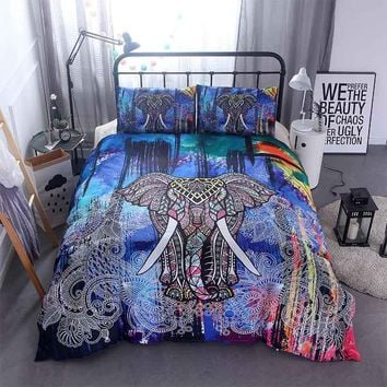 Cool 3D Mandala Elephant Print Duvet Cover Set 3pcs Single Double Queen King Size Bed Linen Boho Quilts Comforter Bedding Sets SheetsAT_93_12