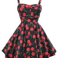 Cherry Print Strappy Sheath Tent Mini Dress