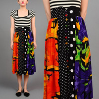 Vintage 80s Abstract Mixed Print Polka Dot Artsy High Waist Button Front Midi Skirt Heart Buttons M