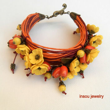 Barberry - Orange - Yellow - Wrap bracelet - Boho bracelet - Summer bracelet - Flower bracelet - Fall bracelet
