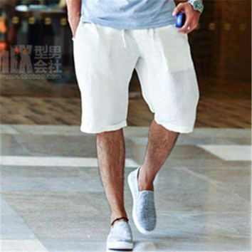 DCCKON3 Summer Casual Man's Linen Shorts Handsome Fashion Style Men Quick drying Beach Shorts solid Plus Size M-2XL Popular 2016 New