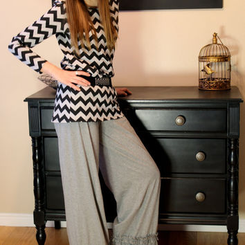 Willow Ruffle Grey Knit Pants by GreenStyle in Teen and Women's Sizes