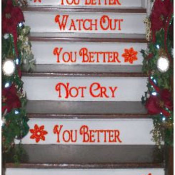 Christmas Stairs Vinyl Decals
