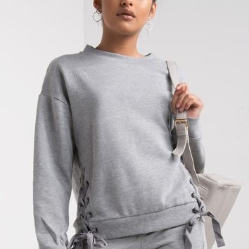 Loose Fit Long Sleeve Ribbed Lace Up Fleece Sweatshirt in Heather Grey