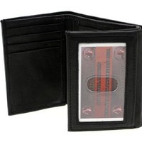 Paul & Taylor Genuine Leather Men's Trifold Wallet Outside ID Black