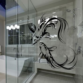 Window Vinyl and Wall Decal Koi Karp Asian Japanese Fish Buddhism Stickers Unique Gift (1876igw)