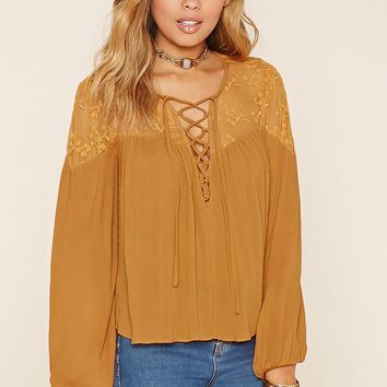 Embroidered Lace-Panel Top