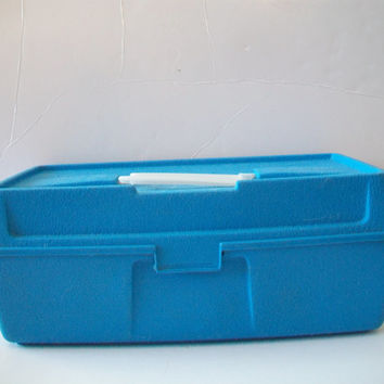 Vintage Emco Specialties Fishing Tackle Box with Lures Aqua Blue