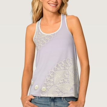Shabby Chic Doilies Pearls Orchid Womens Tank Top