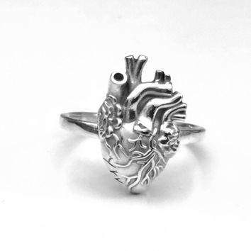 Anatomical Heart Ring, Sterling Silver Ring, Sterling Silver Heart Ring, Anatomical Design, Anatomical Jewelry, Gifts for Her