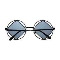 Hippie Retro Vintage Fashion Square Metal Round Sunglasses R90