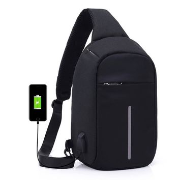 Anti-theft Sling Shoulder Bag with External USB Charge Crossbody Chest Bags Backpack for Cycling Hiking Outdoor Travel Men Women Casual