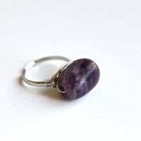 Handmade Wire Wrap Adjustable Ring with Dark Purple Fluorite. Bohemian Gemstone Ring Silver Plated Wire. Nature Lover Ring. Gift for Her.