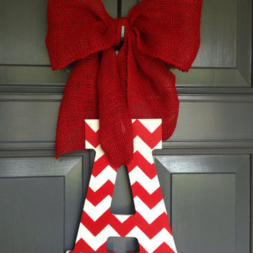 Valentine's Day U of A University of Arkansas Razorbacks Hogs Monogram Initial Painted Chevron Door Hanger Letter A
