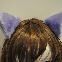 Lavender long fur inner white 9 cm Kitty Cat Ear FOX ear Hair Clip  Cosplay Costumes Party Black Friday Cyber Monday