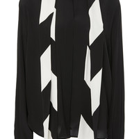 Scarf Neck Long Sleeve Crepe de Chine Blouse | Moda Operandi
