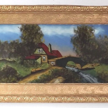 Antique Reverse Painting on Glass, The Highlands Scotland Large Gilt Frame,34 X 18 Gold Framed Victorian Wall Art, Shabby Cottage Chic Decor