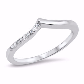 Sterling Silver CZ Simulated Diamond Tiara Ring 4MM