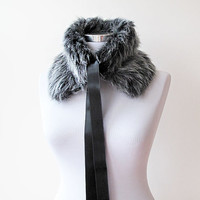 Gray Faux Fur Collar, Polyester faux fur, Women Accessories, Winter